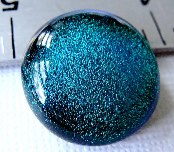 Dichroic Glass Cabochon 21 mm Teal Blue Green