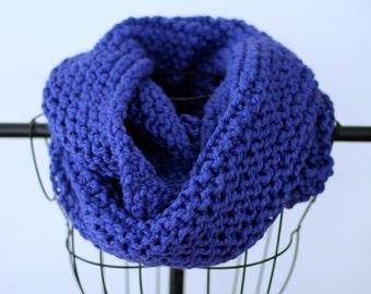 Cobalt Blue Hand Knit Chunky Infinity Scarf