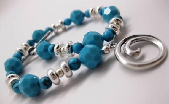 FINAL CLEARANCE Swarovski 8mm Turquoise Faceted Bracelet