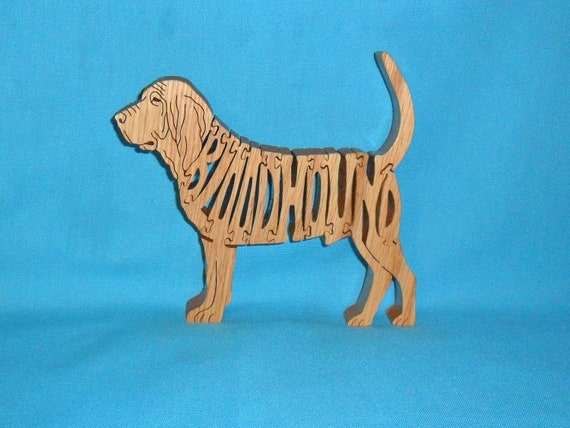 Bloodhound Dog Breed Scroll Saw Wooden Puzzle