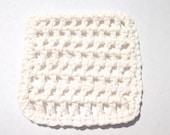 Crochet Mini Washcloth in Soft Ecru - Measures 4 x 4 inches