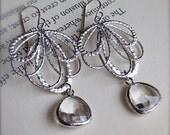 Chandelier Earrings-Silver Earrings with Crystal Clear Glass-Modern-Unique-Bridesmaid Earrings