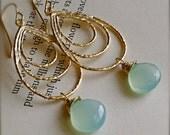 Chandelier Earrings with Sky Blue Chalcedony