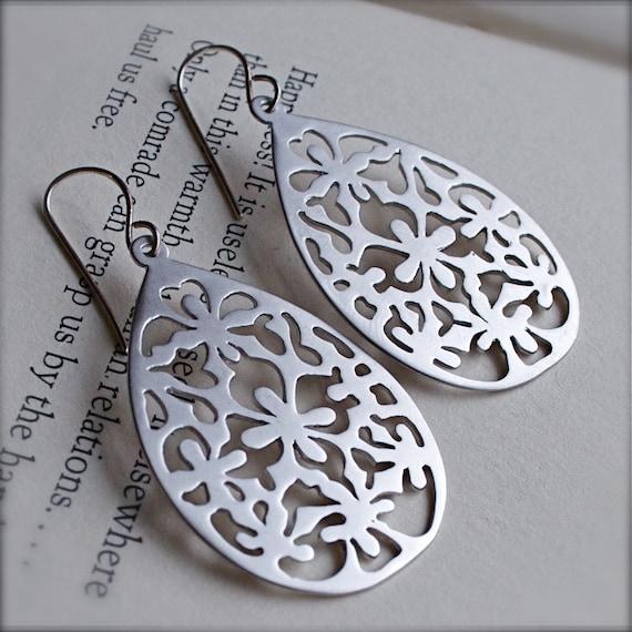 Chandelier Earrings-Boho-Chic Sterling Silver Teardrop Earrings