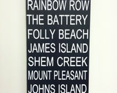 Charleston, South Carolina - Handpainted Wood Subway Sign Bus Scroll - 9 Locations