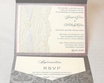 Lace Wedding Invitations, Lace Wedding Invite, Wedding Invitations, Wedding Invite, Floral Invite, Vintage Invitation ANKA - GREY