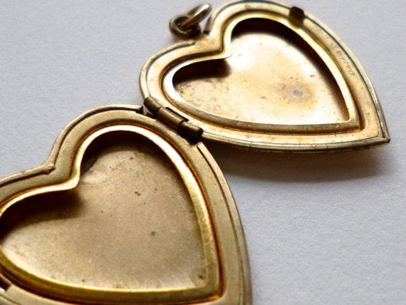 Vintage Gold Filled Heart Locket Pendant Charm