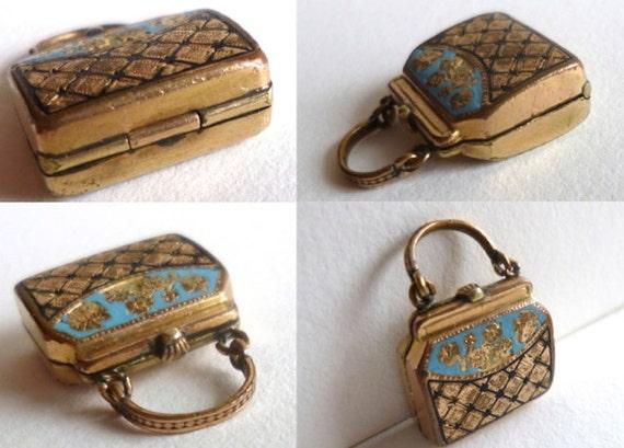 Antique Victorian Purse Locket Miniature Handbag Charm