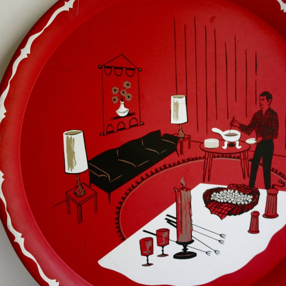 Vintage Red Metal Tray with Fondue Party Design