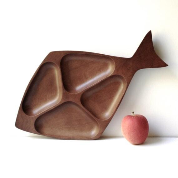 Vintage Wood Divided Fish Plate - Midcentury Modern