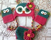 Owl Hat, Diaper Cover and Leg Warmers Set