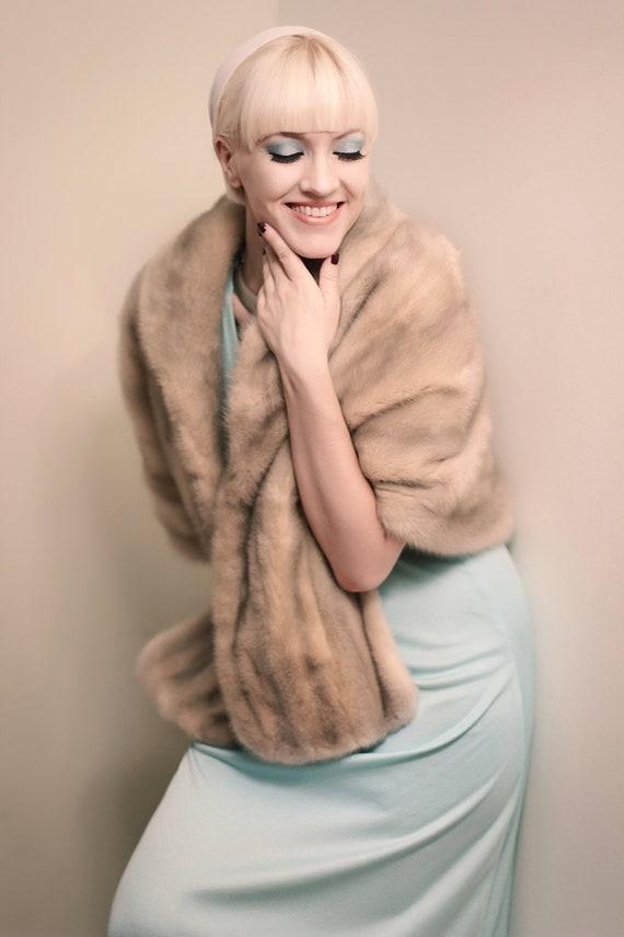 Vintage 1950s Mink Fur Stole or Wrap in Light Grey Beige