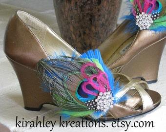 Peacock Feather Rhinestone Pink Green Turquoise Shoe Clips LEHANNA Custom Wedding Colors Keepsake Bride Bridal Bridesmaid Prom Shoes