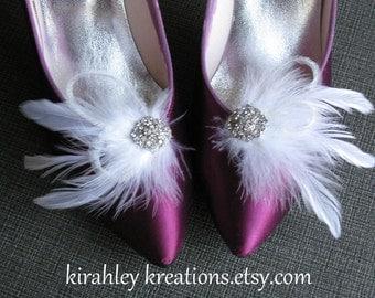 White Feather Rhinestone Shoe Clips Swarovski Crystal Winter Snow PRINCESS Elsa Disney Wedding Bridal Bride Bridesmaids Prom Holiday Party