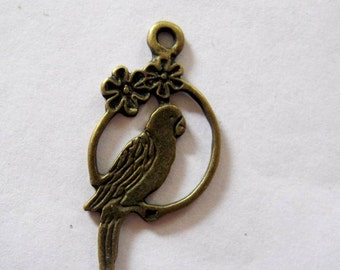 Antique Bronze Dangling Bird on a Wire Charm, 28mm Perfect for Earrings-Ten, See EXAMPLE