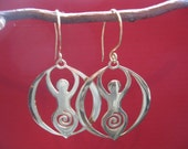 Goddess earrings, 14k gold plate earwires and goddess made of recycled brass.