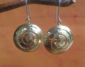 Sacred Spiral Earrings, Ancient Symbology.  Brass with Sterling Silver ear wires