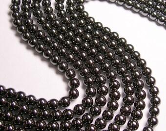 Hematite - 8 mm  round beads -1 full strand - 52 beads - RFG782