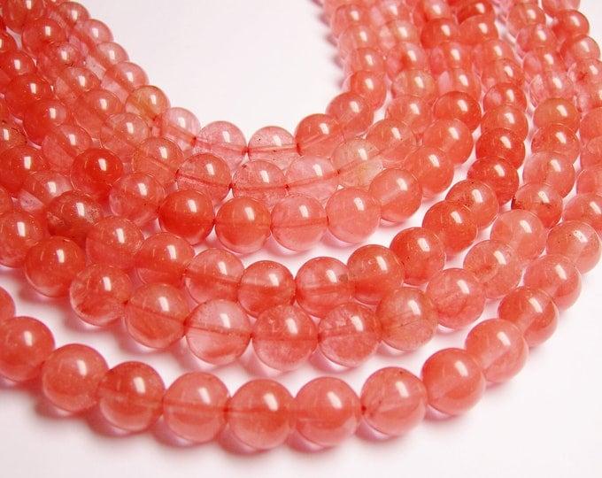 Cherry quartz 12 mm round -  33 beads per strand full strand - RFG967