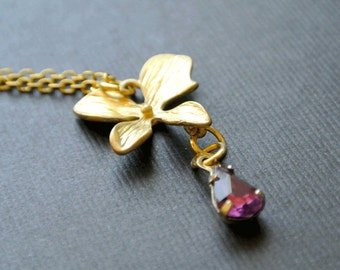 Orchid Necklace,Orchid Flowers Necklace,Gold Orchid Flower,Bridesmaid Jewelry,Wedding Jewelry