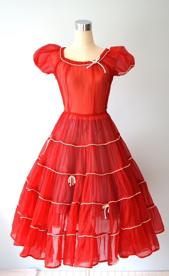 1950s Sheer Red Party Dress / Vintage Full Circle Skirt Nipped Waist Sweetheart Cupcake Valentines Dress