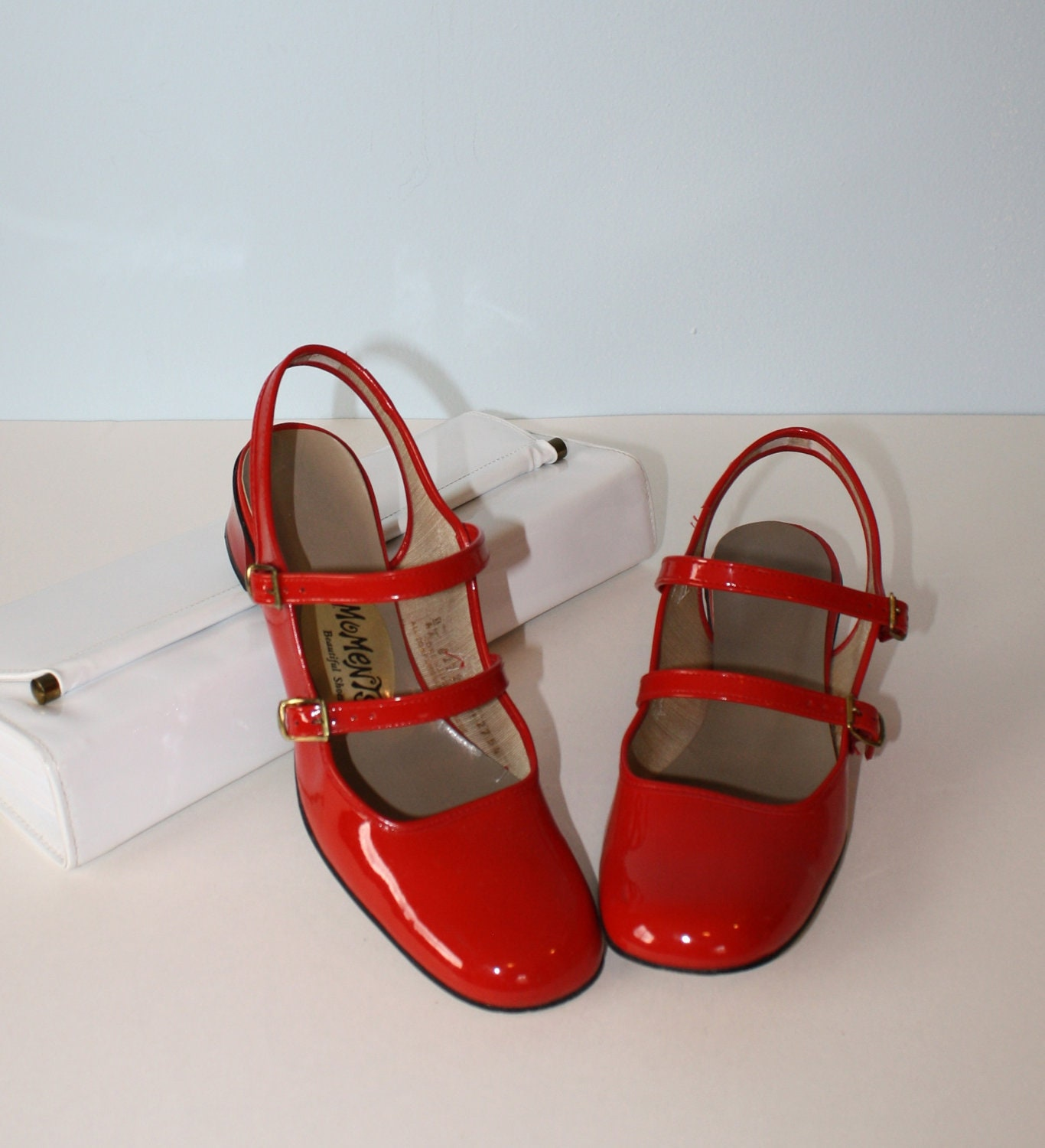 1960s Shoes Vintage Red Patent Mary Jane Sling Back Pumps