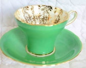 Reserved for  V. Manzano     Green with Gold Leaves cup and saucer. Fine Bone China  CLEARANCE
