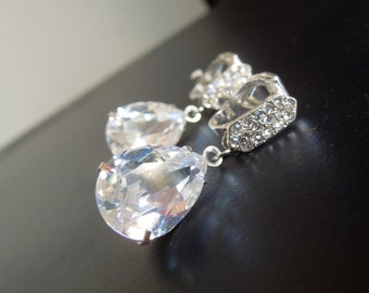 Swarovski Crystal Bridal Earrings Rhinestone Earrings clip on Bridal Earrings Statement Bridal Earrings Crystal teardrop Earrings DESTINY