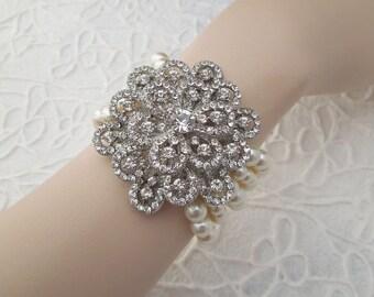 Pearl Bracelet, Bridal Bracelet, Bridal Rhinestone Bracelet, Swarovski Pearls,Pearl Bridal Bracelet, Bridal Statement Bracelet,Cuff, DAHLIA