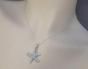 Bridal Rhinestone Necklace, Starfish Rhinestone wedding Necklace, destination Wedding Necklace, bridesmaid starfish necklace, ARIEL