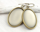Grey Earrings Vintage Style Antique Brass Jewelry Gray Jewelry Neutral Geometric Lunasoft Cabochon Dangle Earrings Bronze Gifts for Women