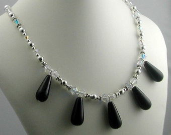 Black, Tear Drop, Crystal Necklace, Sterling, Formal Victorian Style with Earrings