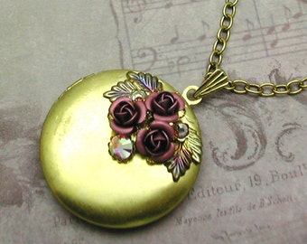 Pink Rose Locket Necklace Brass Round Pendant