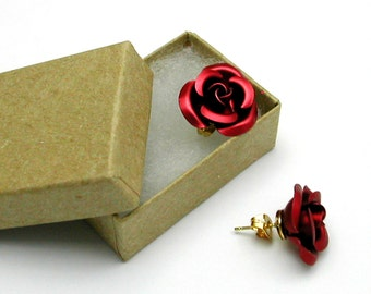 Red Rose Earrings, Large in Gift Box
