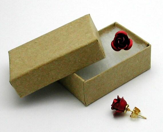Red Rose Earrings, Medium in Gift Box