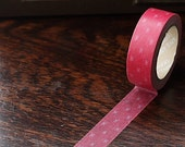 Tape-Washi Tape-Masking Tape-Single Roll-Pink and White Bows
