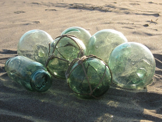 Japanese Glass Fishing Floats - Collection of 7, Assorted Sizes, Shades of Green