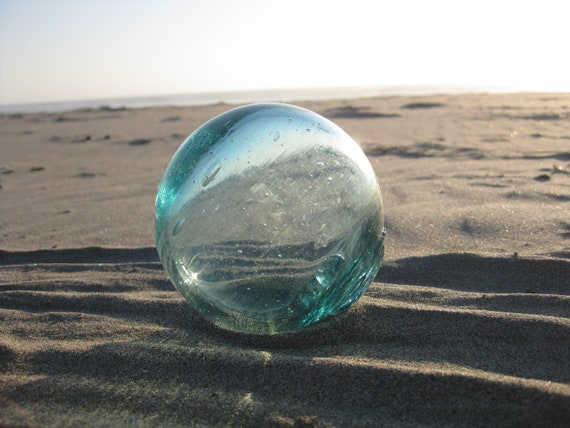 Japanese Glass Fishing Float - Grapefruit Size, Light Teal Blue