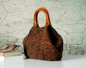 Knitting Tote, women fashion Fall tones, Knit tote, purse, Brown shades - gifts idea autumn Bag