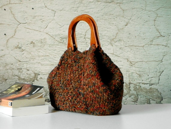 Knitting Tote, women fashion Fall tones, Knit tote, purse, Brown shades - gifts idea autumn Bag