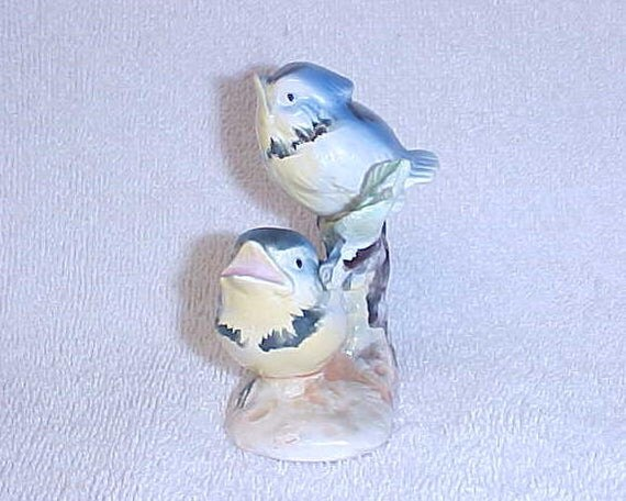 Vintage Blue Jay Bluejay Baby  Bird Figurine Made In Japan Ceramic Circe 1940's