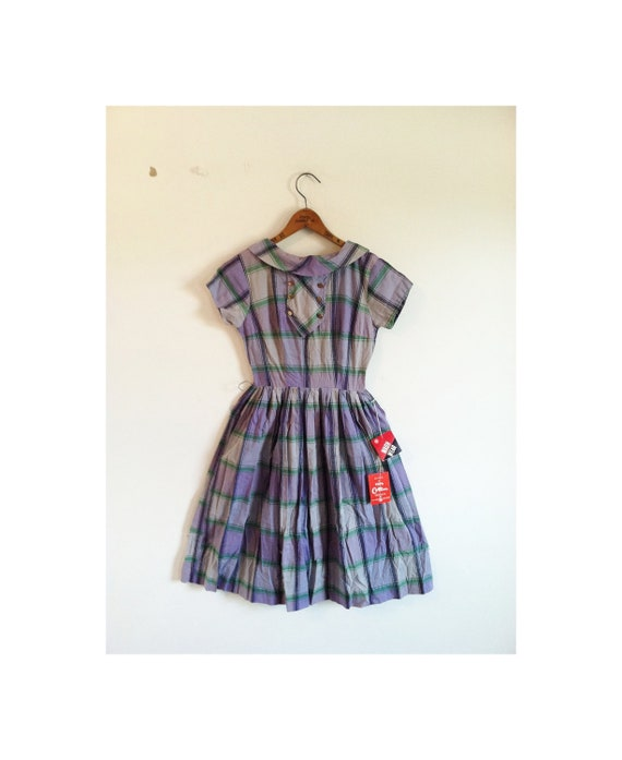 1940s-1950s DEADSTOCK plaid classic dress . . . new with tags