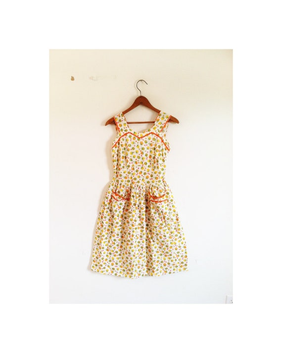 1940s-1950s ICONIC lovely fruit cotton dress