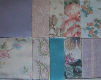 """Vintage Fabric Bed Sheets Dreamy Charm (45 plus) 5"""" Pck Beige and Lavender"""
