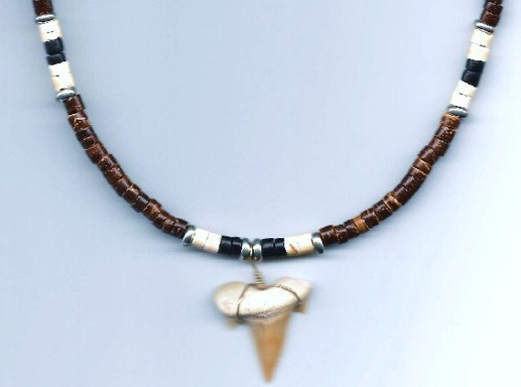 Mens / Unisex Fossil Shark Tooth & Coconut Shell Heishi Bead Necklace