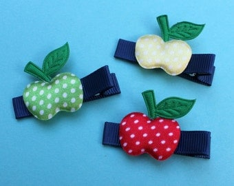 Fall Apples Hair Clips - Red, Yellow, Green