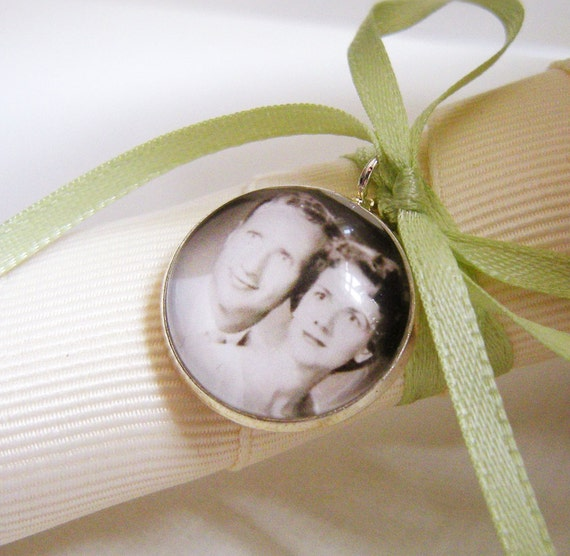 Wedding Bouquet Charm Custom Photo Pendant with Ribbon in Silver for the Bride or Bridesmaids - Grandparent Memorial Something Blue