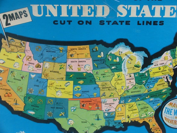 Puzzle 1961 Milton Bradley Map of the United States Puzzle ...