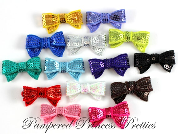 Itty Bitty Sequin Bows-Set of 10-You Choose Colors (Please Check Stock List Below)