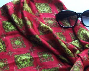 80s  Silk Versace-like Silk Scarf in Crimson
